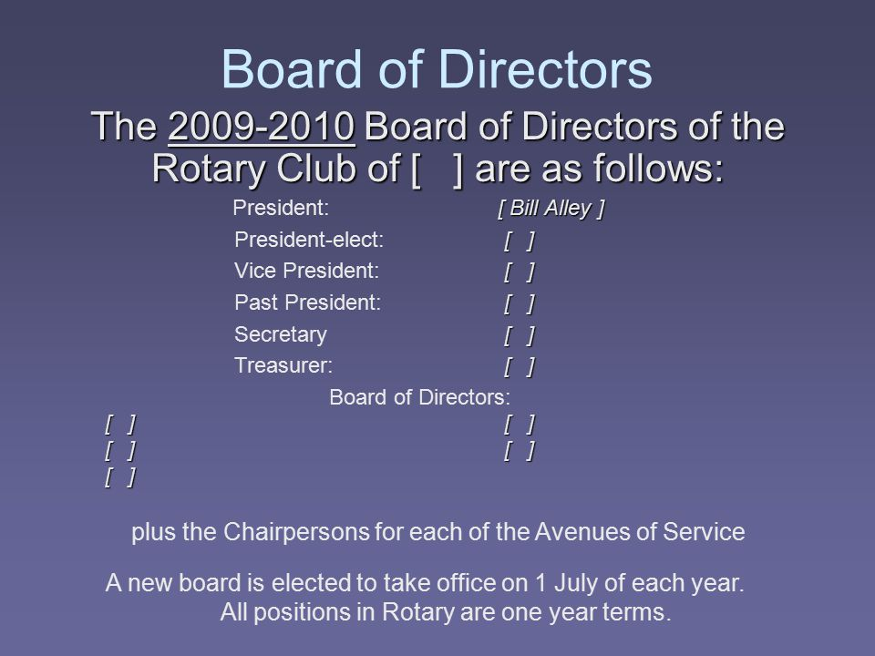 Board of Directors The 2009-2010 Board of Directors of the Rotary Club of [ ] are as follows: President: [ Bill Alley ]